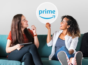 Young women showing a Prime Video icon