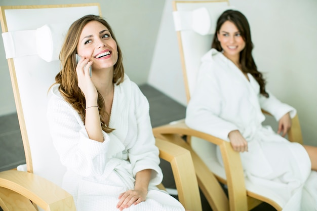 Young women in the spa center