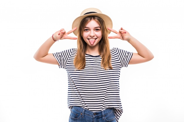 Youngteenager woman wearing fashion sunglasses gesturing victory isolated on a white wall