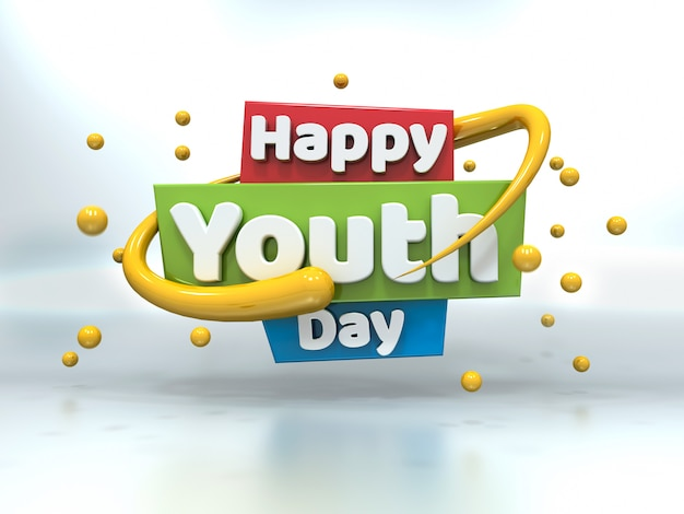 Youth day 3d white text floating on white
