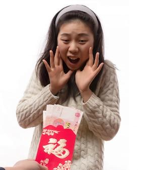 Ritratto giovani persone rosso cinese