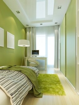 Youth room with a bed and a desk with a laptop. children in light green and white colors with a large window in a contemporary style. 3d render.