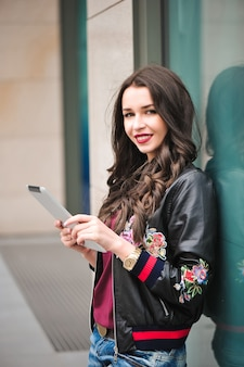 Youth and technology. attractive young woman using tablet