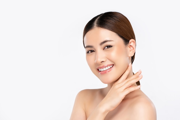 Youthful radiant pretty asian woman face for beauty concept