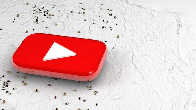 Кнопка youtube 3d на белой поверхности