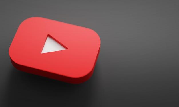 Youtubeロゴ3dレンダリングクローズアップ。 youtubeチャンネルプロモーションテンプレート。