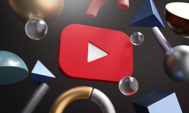 Логотип youtube вокруг 3d-рендеринга абстрактный фон формы