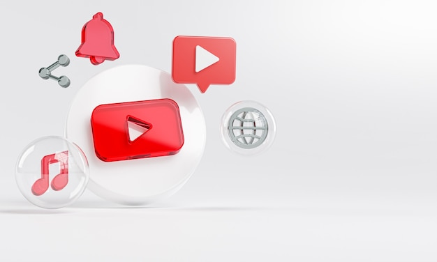 Youtube acrylic glass logo and social media icons copy space 3d
