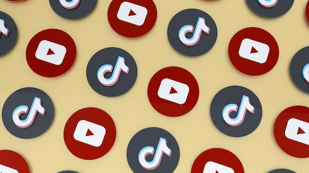 Youtubeとtiktokアイコンの3dレンダリングの背景