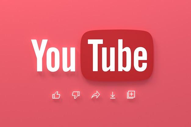 Youtube application 3d social media icons logo 3d rendering