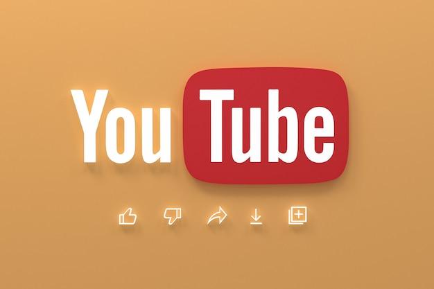 Youtube приложение 3d иконки социальных сетей логотип 3d рендеринг