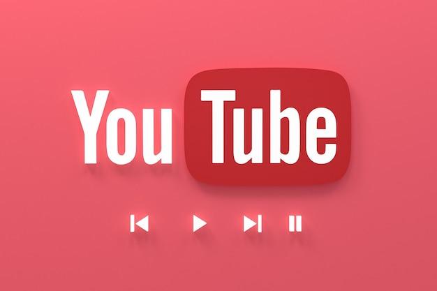 Youtubeアプリケーション3dソーシャルメディアアイコンロゴ3dレンダリング