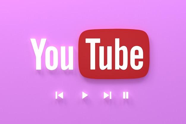 Youtube 응용 프로그램 3d 소셜 미디어 아이콘 로고 3d 렌더링