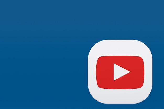 파란색 배경에 youtube 응용 프로그램 로고 3d 렌더링
