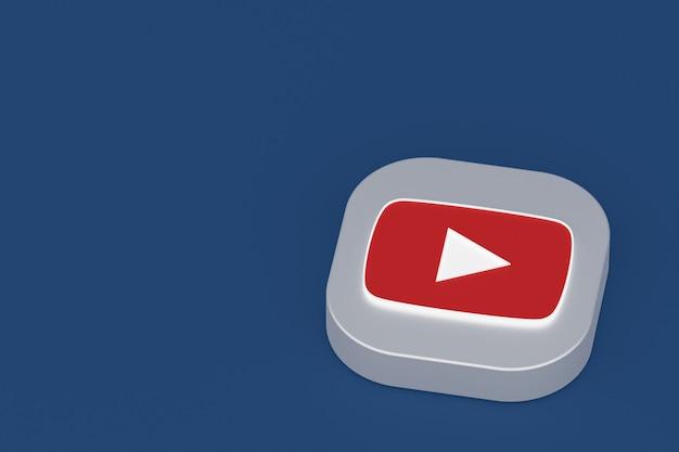 Логотип приложения youtube 3d-рендеринга на синем фоне