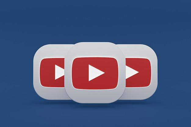 Логотип приложения youtube 3d-рендеринга на синем фоне Premium Фотографии