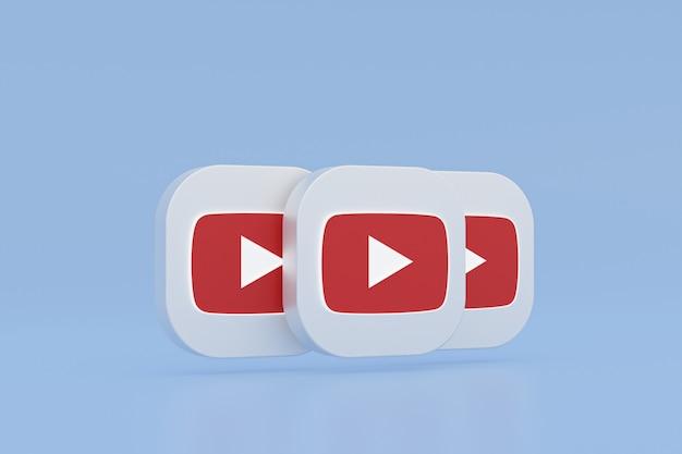 Логотип приложения youtube 3d-рендеринг на синем фоне