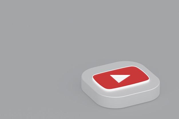 3d-рендеринг логотипа приложения youtube на сером фоне