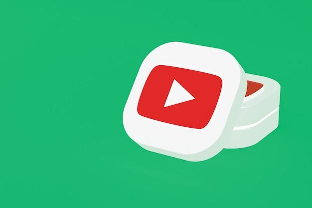 Логотип приложения youtube 3d-рендеринг на зеленом фоне