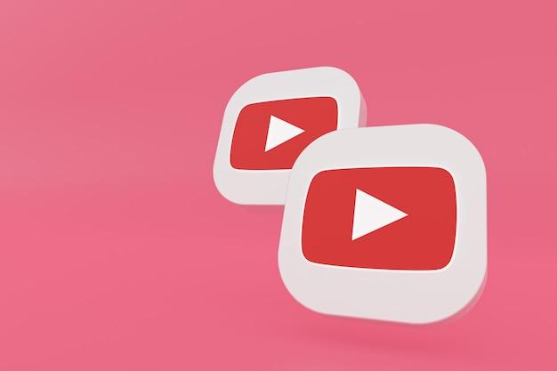 3d-рендеринг логотипа приложения youtube на розовом фоне
