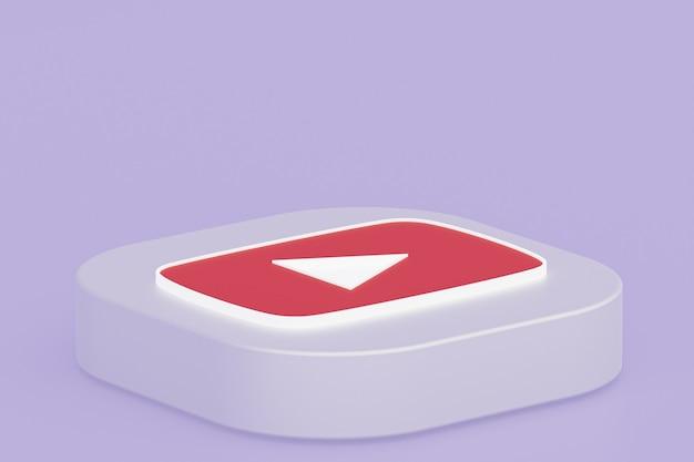 Логотип приложения youtube 3d-рендеринг на фиолетовом фоне