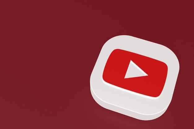 빨간색 배경에 youtube 응용 프로그램 로고 3d 렌더링