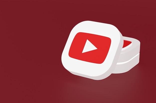 Логотип приложения youtube 3d-рендеринга на красном фоне