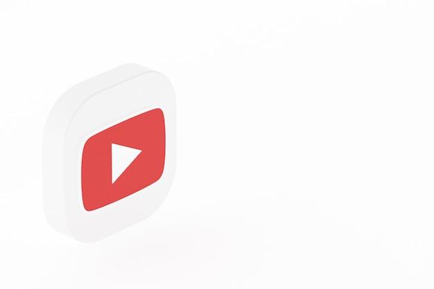 Логотип приложения youtube 3d-рендеринга на белом фоне