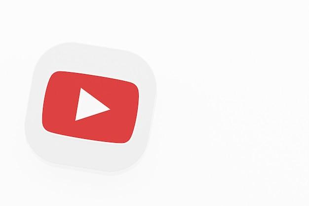 흰색 배경에 youtube 응용 프로그램 로고 3d 렌더링