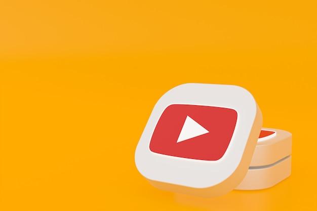 노란색 배경에 youtube 응용 프로그램 로고 3d 렌더링