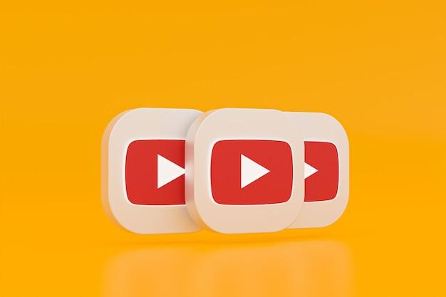 3d-рендеринг логотипа приложения youtube на желтом фоне