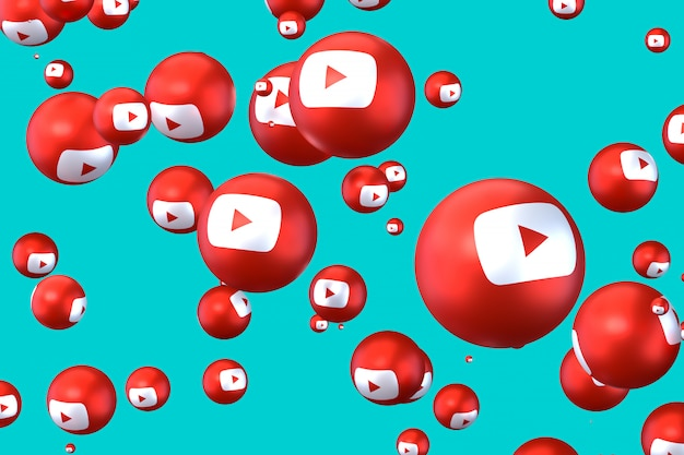 Youtube  emoji 3d render, social media balloon symbol