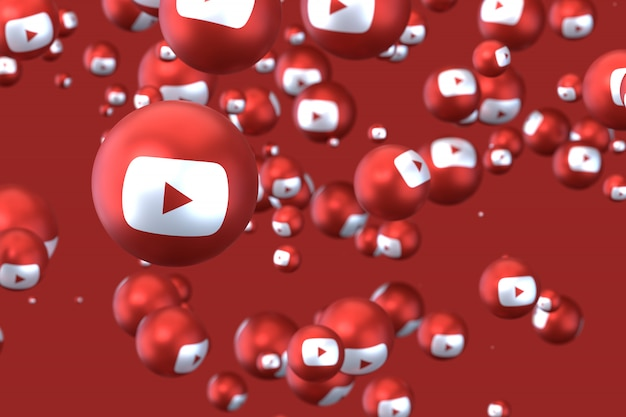 Реакции youtube emoji 3d визуализации, символ социальных медиа шар с иконками youtube