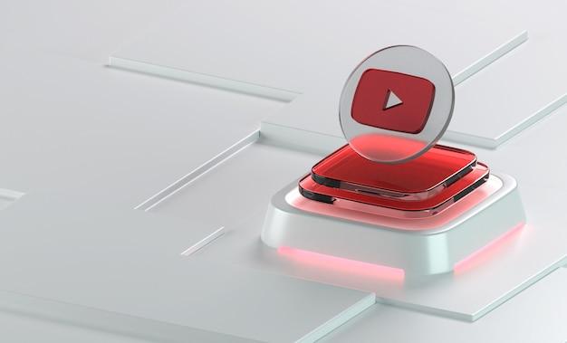 Youtube 유리 기하학 모양 3d 아이콘 렌더링