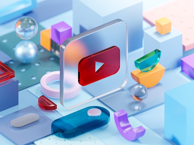 Youtube glass geometry shapes abstract composition art 3d rendering