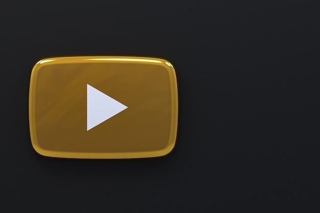 Youtube золотой логотип 3d-рендеринга