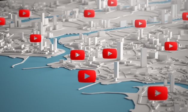 Youtube icon over aerial view of city buildings 3d rendering