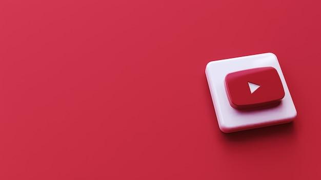 Значок youtube на красной поверхности Premium Фотографии