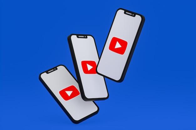 화면 휴대 전화에 youtube 아이콘 3d 렌더링
