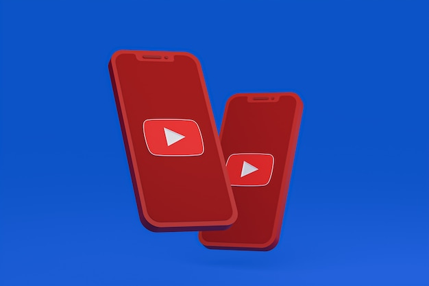 画面上の携帯電話のyoutubeアイコン3dレンダリング
