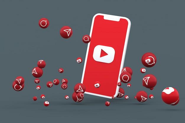 화면 스마트 폰 또는 모바일의 유튜브 아이콘 및 유튜브 반응은 격리 된 배경으로 전화