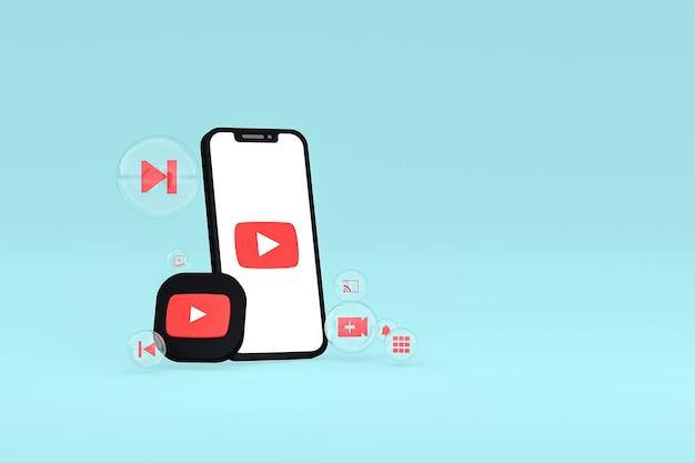 Значок youtube на экране смартфона или мобильного телефона 3d визуализации на синем фоне