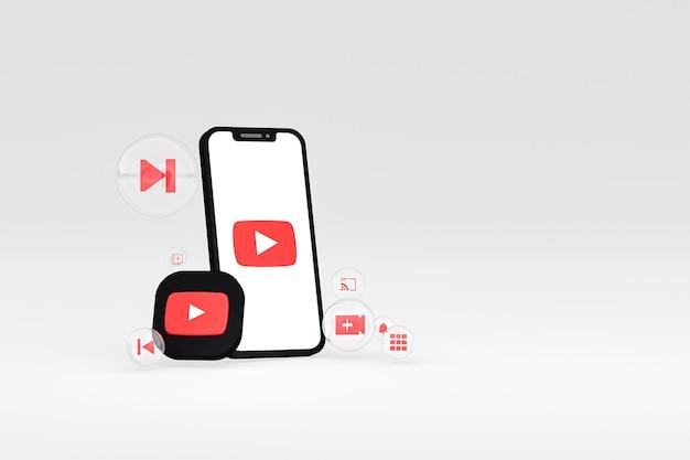 Значок youtube на экране смартфона или мобильного телефона 3d визуализации на сером фоне