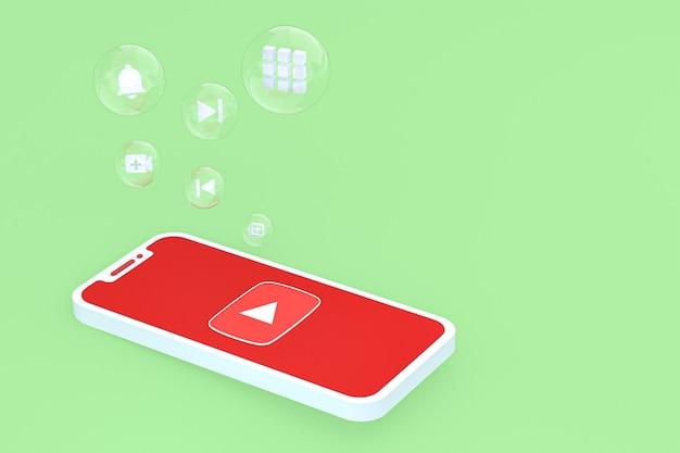 Значок youtube на экране смартфона или мобильного телефона 3d визуализации на зеленом фоне