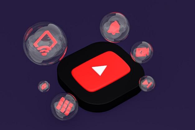 Значок youtube на экране смартфона или мобильного телефона 3d визуализации на фиолетовом фоне
