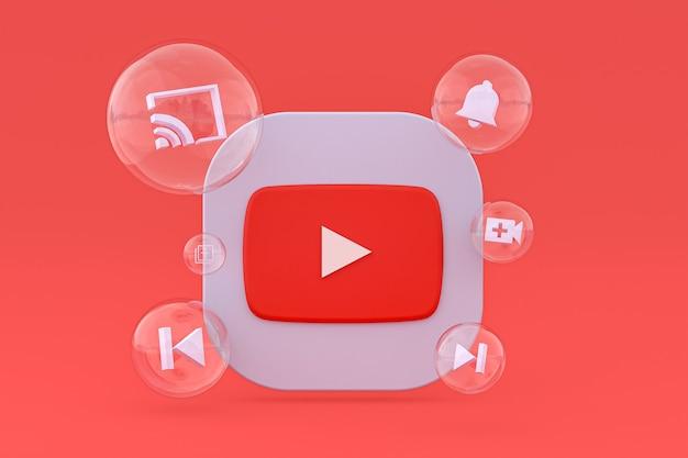 Значок youtube на экране смартфона или мобильного телефона 3d визуализации на красном фоне