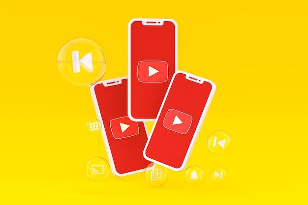 Значок youtube на экране смартфона или мобильного телефона 3d визуализации на желтом фоне