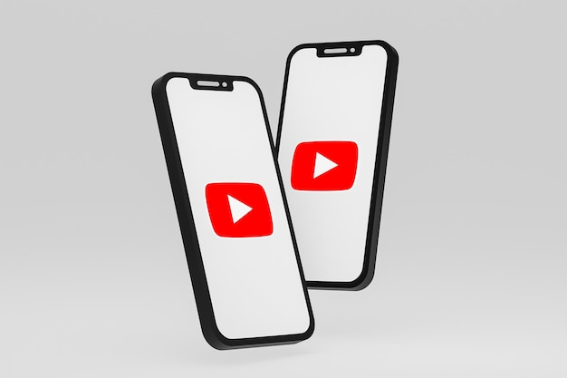 画面のスマートフォンまたは携帯電話の 3 d レンダリング上の youtube アイコン