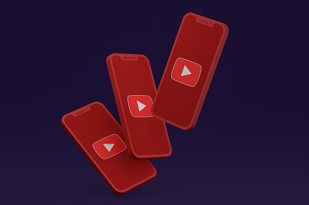 Youtube icon on screen smartphone or mobile phone 3d render