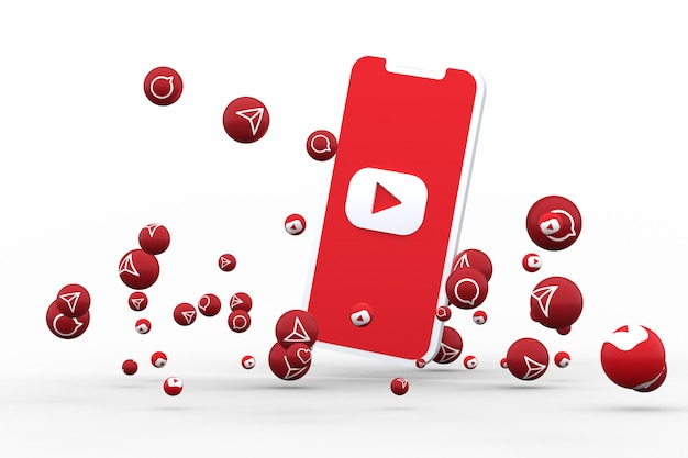 Youtube icon on screen smartphone or mobile and youtube reactions call with isolated background
